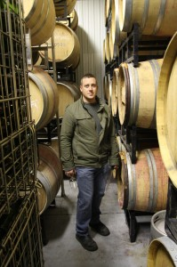 "Kevin in the ""cellar"" at Featherstone Estate Winery."