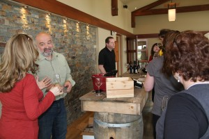 Winemaker Derek Barnett chatting with Debbie
