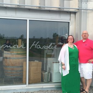 Kari Macknight Dearborn & Paul Dearborn at Norman Hardie winery in Prince Edward County.